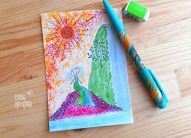 Идеи для маленьких рисунков Девочка у водопада