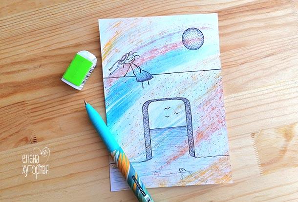 Идеи для маленьких рисунков Девочка на стене в море