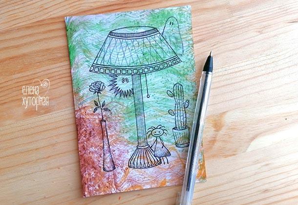 Идеи для маленьких рисунков Девочка под лампой