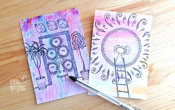Идеи для маленьких рисунков Девочка моет солнце
