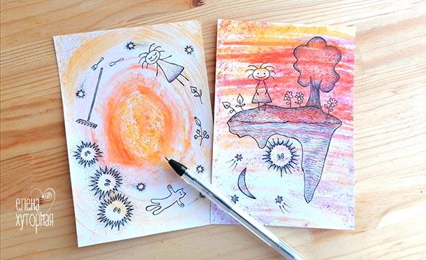Идеи для маленьких рисунков Девочка, кот и грабли