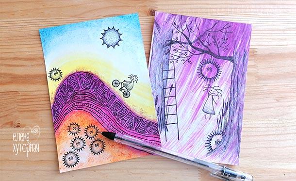 Идеи для маленьких рисунков Девочка на велосипеде