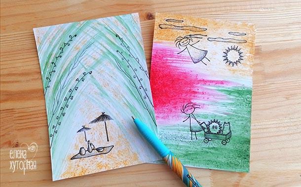 Идеи для маленьких рисунков Девочка летит, девочка с повозкой